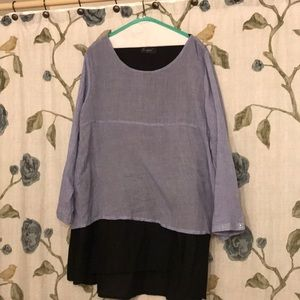 Tops - Navy and light blue blouse